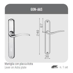Maniglia con placca Astra