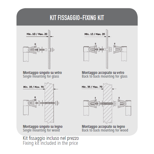 Maniglione Italy Esse- Kit fissaggio