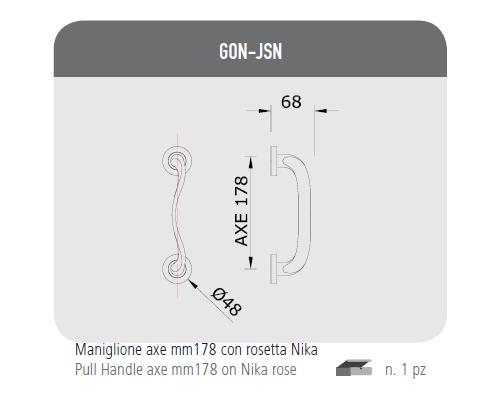 Maniglione axe mm 178 con rosetta Nika