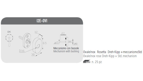Ovale inox rosetta Dreh-Kipp+meccanismo Std
