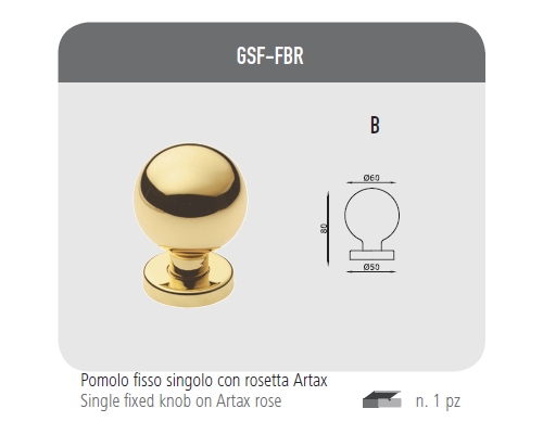 Single fixed knob with rosette Artax