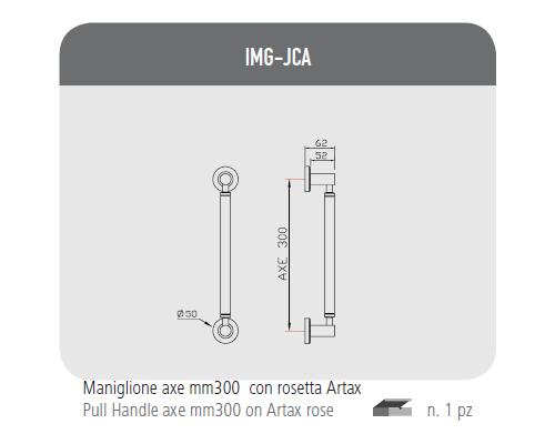Maniglione axe mm300 con rosetta Artax