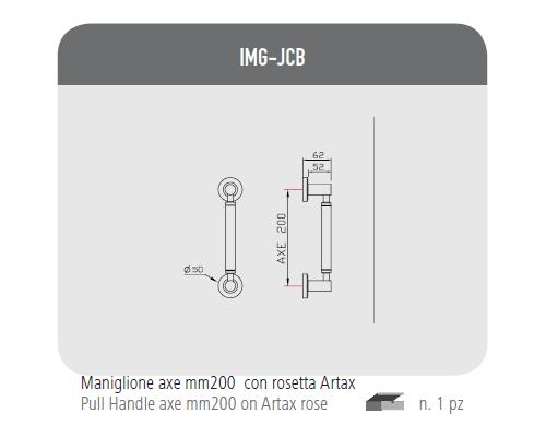 Maniglione axe mm200 con rosetta Artax